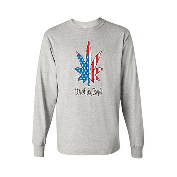 USA Flag Long Sleeve T Shirt Men's Weed The People