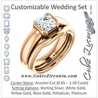CZ Wedding Set, featuring The Charlotte engagement ring (Customizable Bezel-set Asscher Cut Solitaire with Thick Band)
