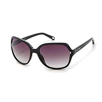 Fossil Oversized Square Wrapped Sunglasses - Black