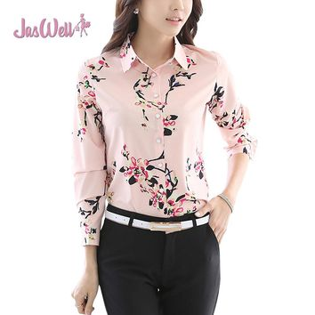 JasWell Women's Fashion Floral Printed Chiffon Shirt Long Sleeve OL Slimming Turn-down Collor Spring Professional Work Blouse