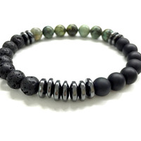 Men's Bead Bracelet. Black, Green Stone Jewelry. Onyx, lava, turquoise Gemstone Jewelry. Stretch Bracelet. Elastic Bracelet. Unisex Jewelry