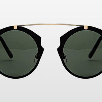 Spitfire - Intergalactic Black & Gold Sunglasses, Black Lenses