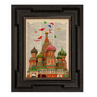 Russian Saint Basil's Cathedral with Birds Overhead Print on an Antique Upcycled Bookpage