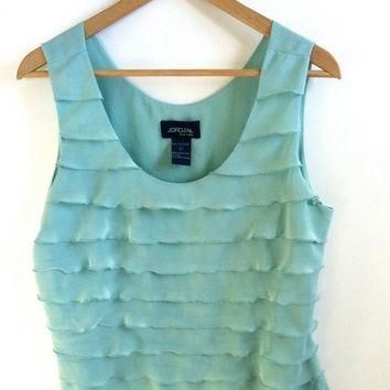 Vintage Blouse Mint Ruffle Tank Top Vest Crop Top Jordan Vintage Medium Large FREE SHI