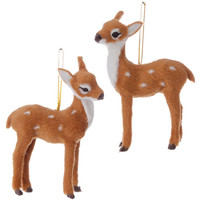 Christmas Cabin Spotted Reindeer Fawn Holiday Ornaments 4-1/2-in  - Set of 2