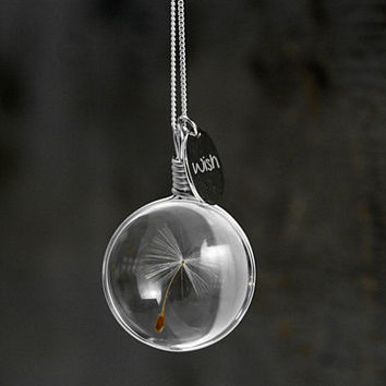 Sterling airy real dandelion necklace. Make one wish! Real dandelion seed in glass, long sterling necklace and sterling WISH charm.