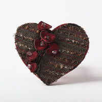 Brown Heart Brooch with Dark Red Leather Hearts