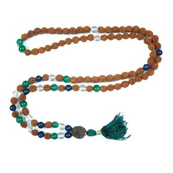 Mogul Chakra Healing Meditation Crystal Lapis lazuli Green Jade Beads Prayer Mala Rudraksha Yoga Necklace 108+1 - Walmart.com