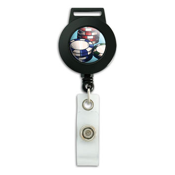 Poker Chips Casino Games Retractable Badge Card ID Holder