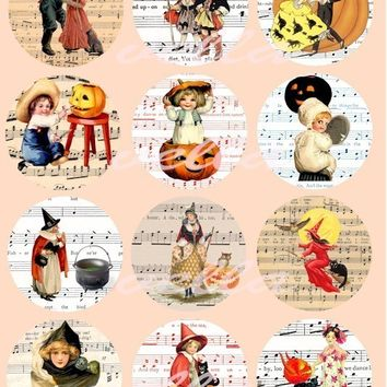 Halloween children witches sheet music clip art pumkins vintage CLIPART digital download COLLAGe sheet 2.5 inch circles art printables