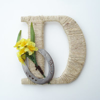 Rustic Wrapped Letter D, Rustic Letter, Country decor, Twine wrapped letter, Horseshoe decor, Rustic Home Decor, Western Letter