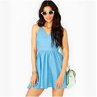 2016 Trending Fashion Sexy Backless Jeans Spagehetti Strap V Neck Erotic One Piece Dress _ 7941