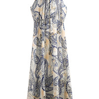 ROMWE Blue and White Porcelain Print Sleeveless Dress