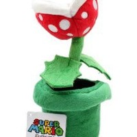 "Sanei Officially Licensed Super Mario Plush 9"" Piranha Plant Japanese Import"