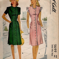 1940s Vintage McCall Sewing Pattern 5699 Depression Era WWII Casual Day Dress Button Front Draped Hips Flutter Sleeves Bust 32