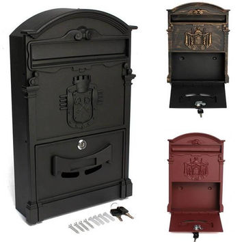 41x25x8cm Garden Yard Retro Mailbox Wall-mounted Lockable Letter Newspaper Post Box