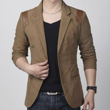 Men Casual Slim Fit Blazer With Leather Patchwork
