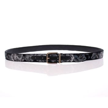 Dolce & Gabbana Black Leather Cotton Velvet Logo Belt