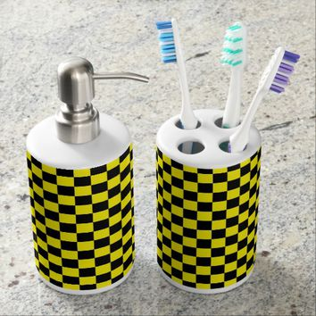Checkered Black and Yellow Soap Dispenser And Toothbrush Holder