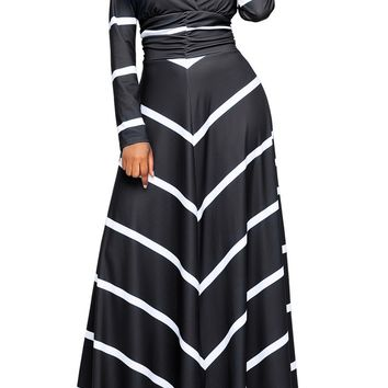 Black Striped Chevron V Neck Long Sleeve Maxi Dress