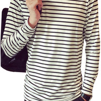 Black and White Striped Round Neck Long Sleeve Tee