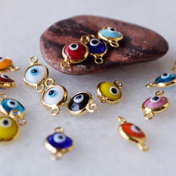 22 Pcs Glass Mix Color Evil Eye Connectors Gold Plated Connector Multicolored Brass Bezel Bracelet Necklace Charms Turkish Evil Eye Bead