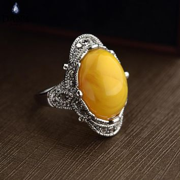 DAN'S 2 Colors Real Austrian Crystals Classic Vintage pattern Fashion Rings For women New 10348