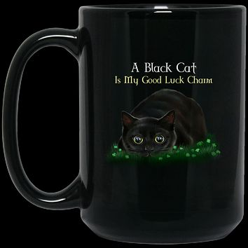 Cat Coffee Mug, Black Cat Gifts, A Black Cat Is My Good Luck Charm