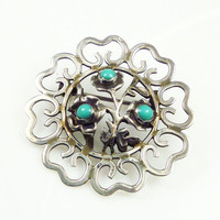 Vintage Brooch Mexican Sterling Silver Turquoise Stone Flower Jewelry