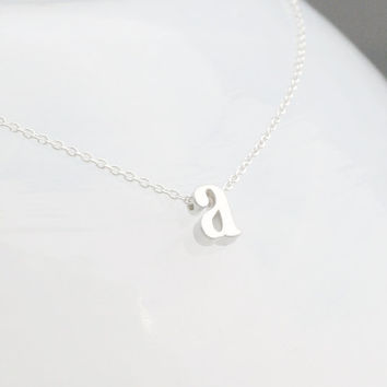 Lowercase Silver Initial Necklace - Initial Necklace - Letter Necklace