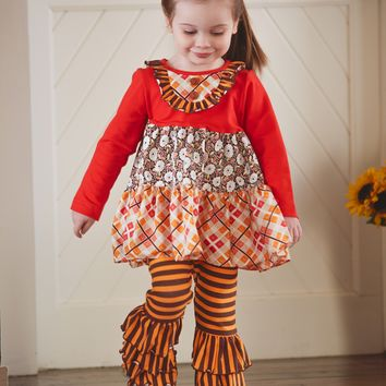 Molly & Millie By Peaches N Cream Fall Sugar And Spiced Tunic And Ruffle Leggings