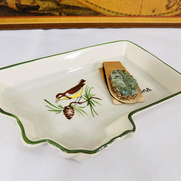 Annie Laura Pottery Tray, State of Montana, 1950s Annie Laura Souvenir Dishes, Vintage Pottery