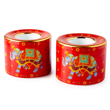 Ceremonial Indian Elephant Red Tea Light Holders, Set of 2 - Halcyon Days
