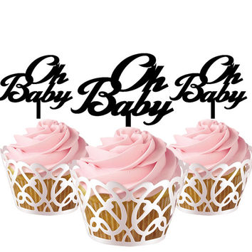 4 pcs in one set Oh Baby CupCake toppers for party decor, baby shower cake toppers acrylic,  gift for new born baby