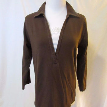 Chico's Pullover Collared Long Sleeve Shirt Brown
