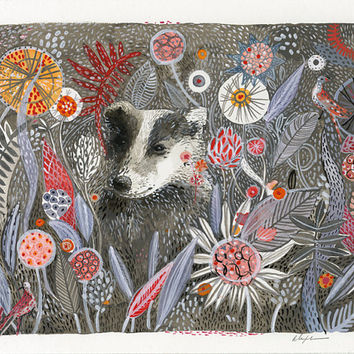 Badger's Dream Print of original watercolor by amberalexander