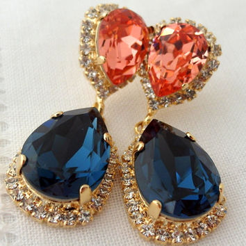 Navy blue and peach pink Chandelier earrings, Drop earrings, Dangle earrings, Bridal earrings, Swarovski earrings, Gold or silver