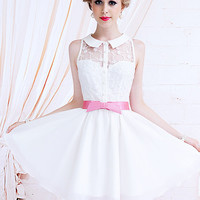 Kawaii Fashion Dolly sweet Cute Princess Wedding Party Sleeveless White Dress