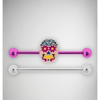 14 Gauge Pink Sugar Skull Industrial Barbell