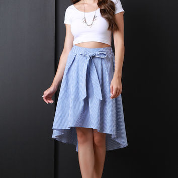 Vertical Striped Box Pleated A-Line Skirt