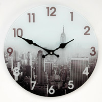 George Home Grey New York Wall Clock | Clocks | ASDA direct
