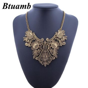 Btuamb Vintage Boho Big Flower Leaves Necklaces for Women Party Gift Jewelry Punk Antique Gold Color Statement Chokers Necklaces