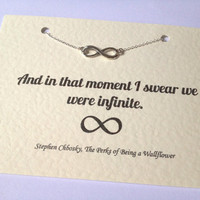 Silver Infinity Charm Necklace - The Perks of Being a Wallflower Quote