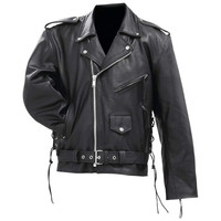 Rocky Mountain Hides Solid Genuine Cowhide Leather Classic Motorcycle Jacket- M
