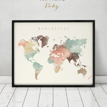 Wanderlust, World map watercolor print, world map poster, travel map watercolor, typography art, digital watercolor print, ArtPrintsVicky