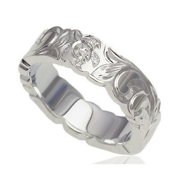 6mm Sterling Silver Honu Sea Turtle Scroll Band