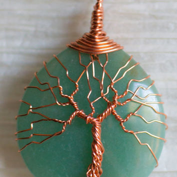 Tree of Life wire wrapped Jade colored Aventurine  pendant Necklace