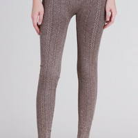 Heather Braid Knit Leggings in Brown