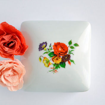 Vintage White Ceramic Jewelry Box with Floral Print
