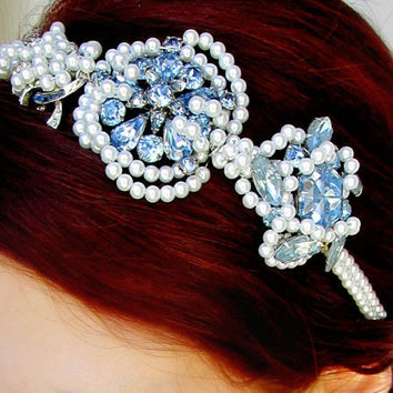 Bridal Vintage Blue Rhinestone Headband Pearl Headpiece